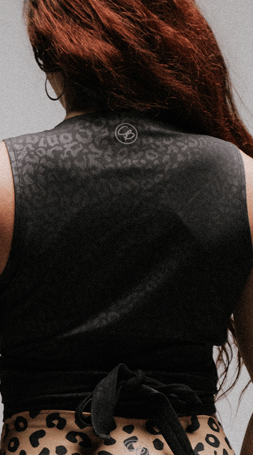 "Sleeveless Empire Wrap Top in ""Black Panther"" - Celestial Bodiez Collective"
