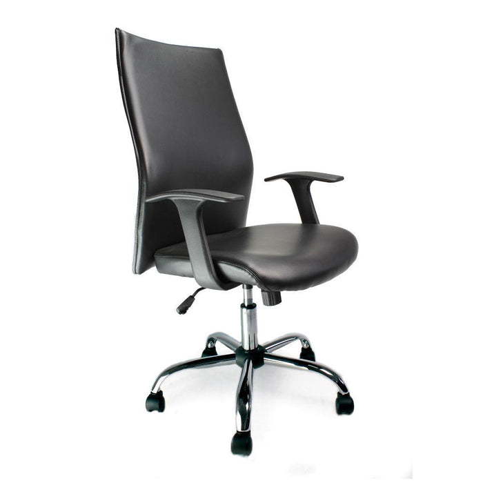 Tor Shirt-Tail Leather Faced Executive Armchair with Chrome Base - Black