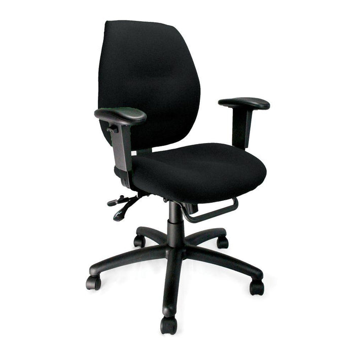 Severn Ergonomic Medium Back Multi-Functional Synchronous Operator Chair with Adjustable Arms - Black