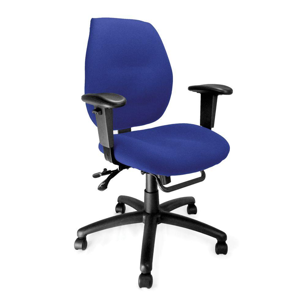 Severn Ergonomic Medium Back Multi-Functional Synchronous Operator Chair with Adjustable Arms - Blue