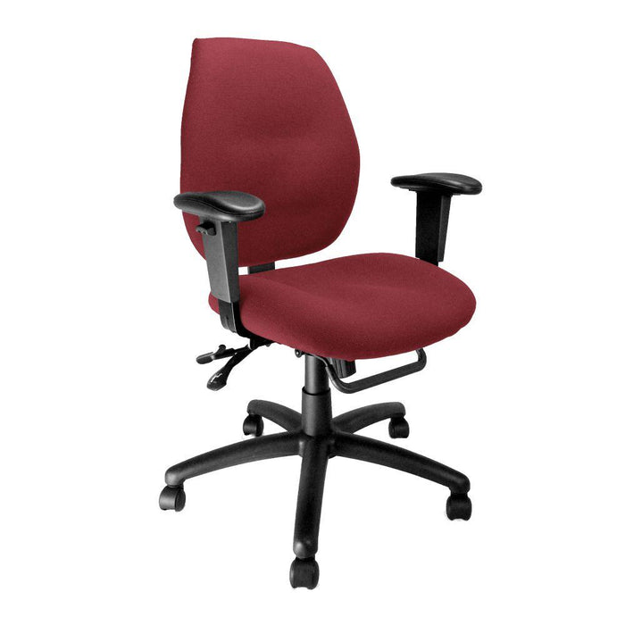 Severn Ergonomic Medium Back Multi-Functional Synchronous Operator Chair with Adjustable Arms - Wine