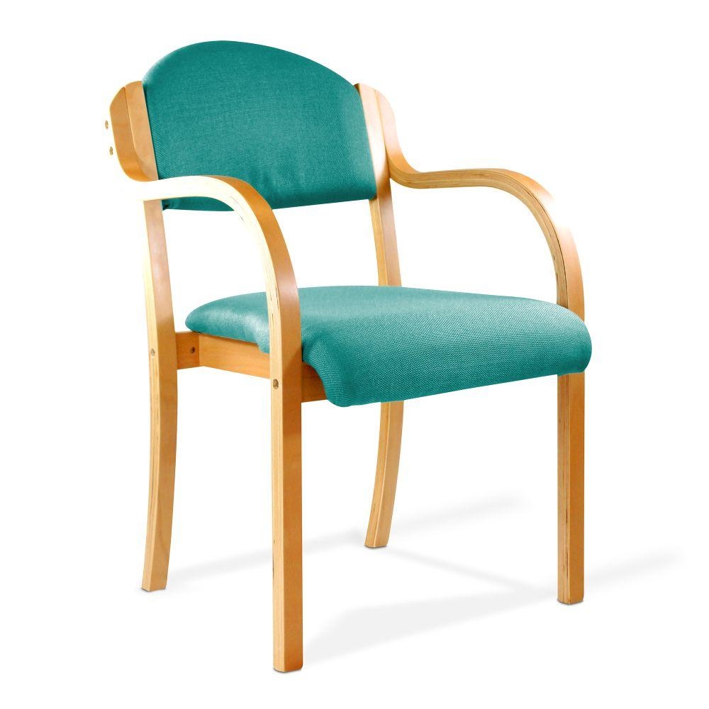 Tahara Beech Framed Stackable Side Armchair with Upholstered and Padded Seat and Backrest - Aqua