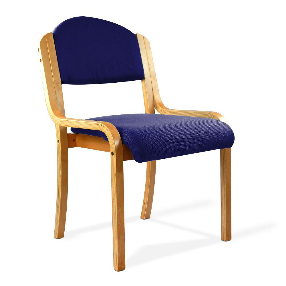 Tahara Beech Framed Stackable Side Chair with Upholstered and Padded Seat and Backrest - Blue