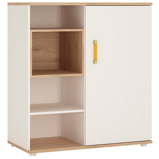 4Kids Low Cabinet with shelves (Sliding Door) with Orange Handles