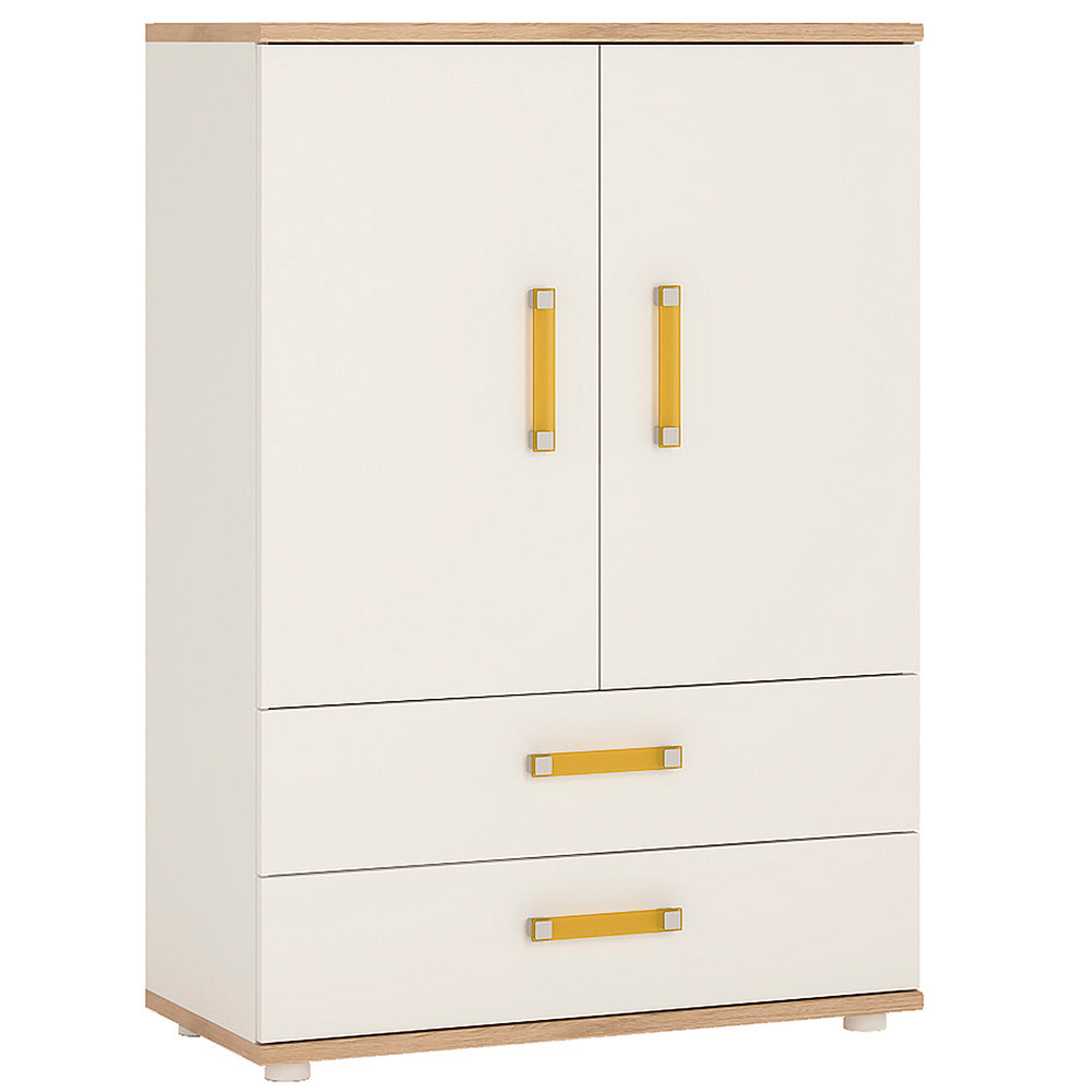 4Kids 2 Door 2 Drawer Wardrobe with Lilac Handles
