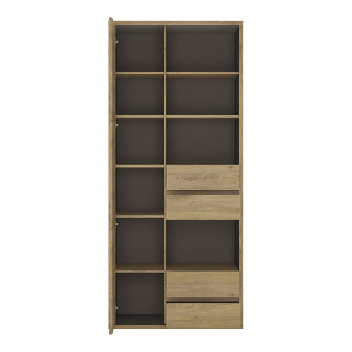 Shetland Tall wide 1 door 4 drawer bookcase Oak