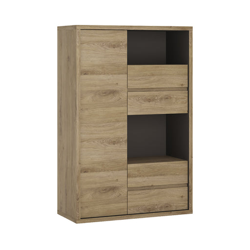 Shetland 1 Door 4 drawer display cabinet Oak