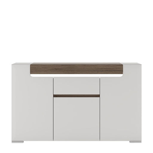 Toronto 3 Door 1 Drawer Sideboard (inc Plexi Lighting) White