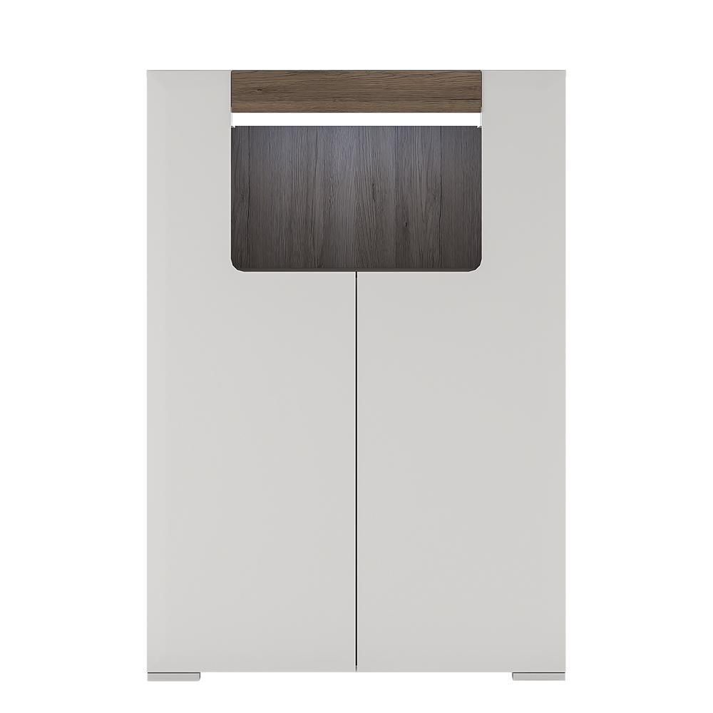 Toronto Low 2 Door cabinet with open shelf (inc Plexi Lighting) White