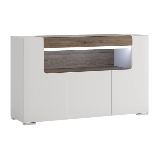 Toronto 3 Door Sideboard with open shelving (inc Plexi Lighting) White
