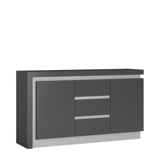 Lyon 2 door 3 drawer sideboard (including LED lighting) Platinum/Light Grey
