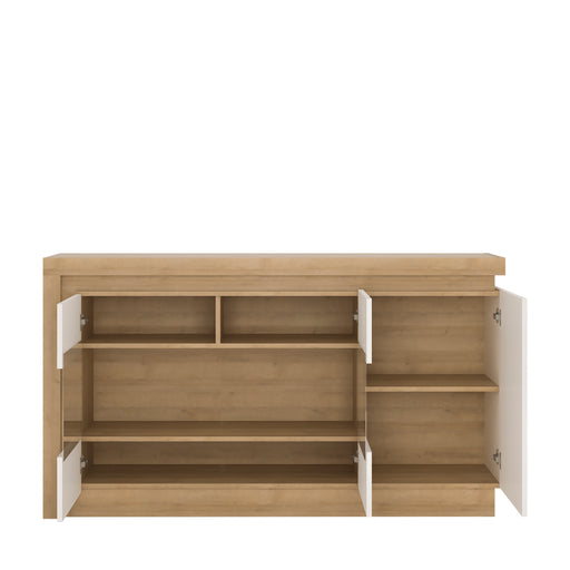 Lyon 3 door glazed sideboard (including LED lighting) Oak/White