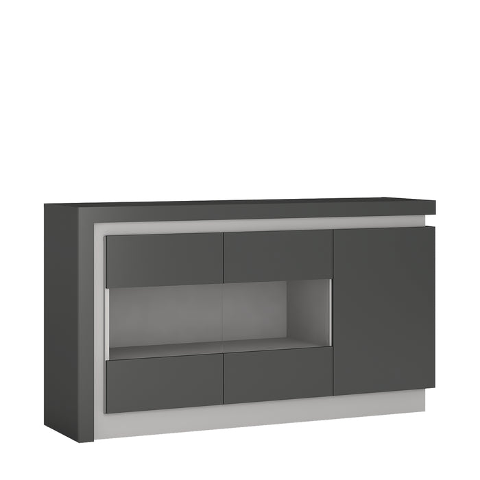 Lyon 3 door glazed sideboard (including LED lighting) Platinum/Light Grey