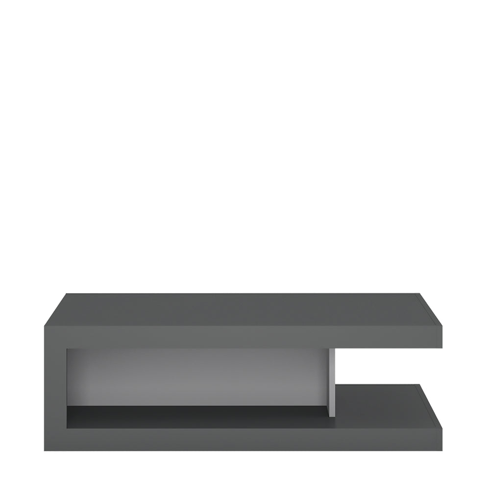 Lyon Designer coffee table on wheels Platinum/Light Grey