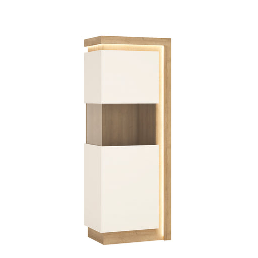 Lyon Narrow display cabinet (LHD) 164,1cm high (including LED lighting) Oak/White