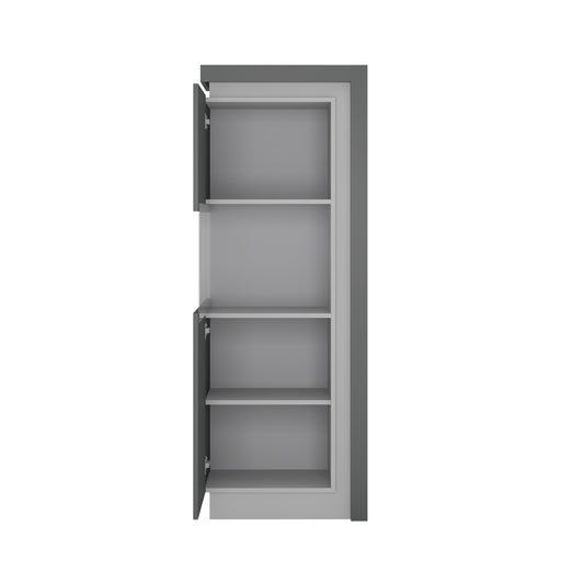 Lyon Narrow display cabinet (LHD) 164,1cm high (including LED lighting) Platinum/Light Grey