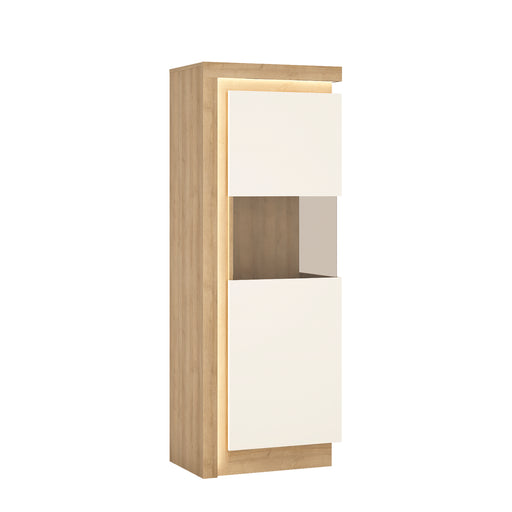 Lyon Narrow display cabinet (RHD) 164.1cm high (including LED lighting) Oak/White