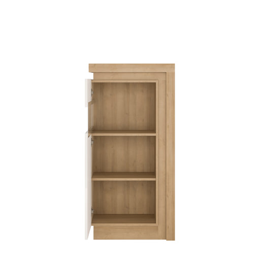 Lyon Narrow display cabinet (LHD) 123.6cm high (including LED lighting) Oak/White