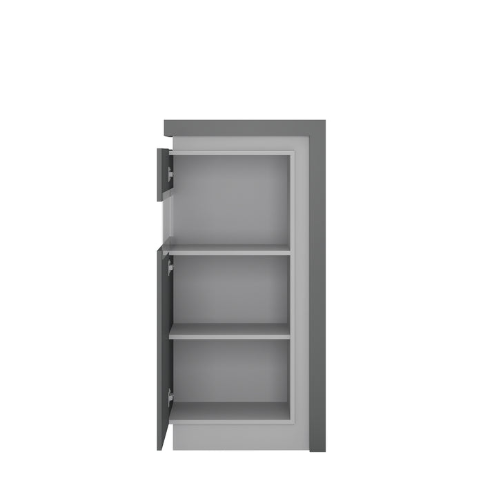 Lyon Narrow display cabinet (LHD) 123.6cm high (including LED lighting) Platinum/Light Grey