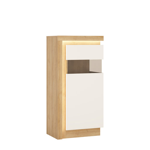 Lyon Narrow display cabinet (RHD) 123.6cm high (including LED lighting) Oak/White