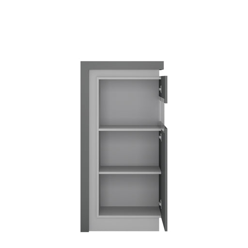 Lyon Narrow display cabinet (RHD) 123.6cm high (including LED lighting) Platinum/Light Grey