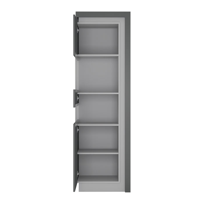 Lyon Tall narrow display cabinet (LHD) (including LED lighting) Platinum/Light Grey