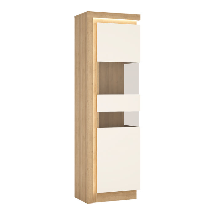 Lyon Tall narrow display cabinet (RHD) (including LED lighting) Oak/White