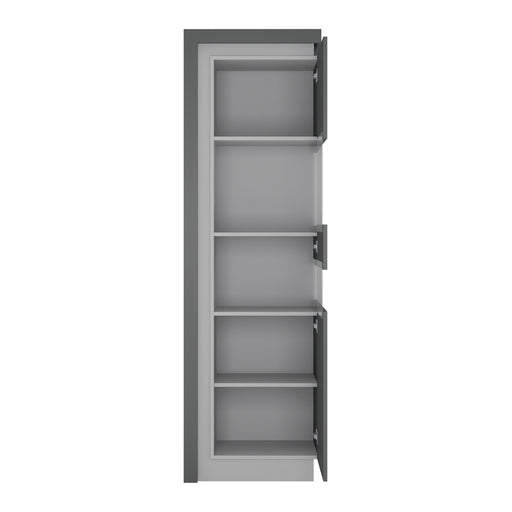 Lyon Tall narrow display cabinet (RHD) (including LED lighting) Platinum/Light Grey