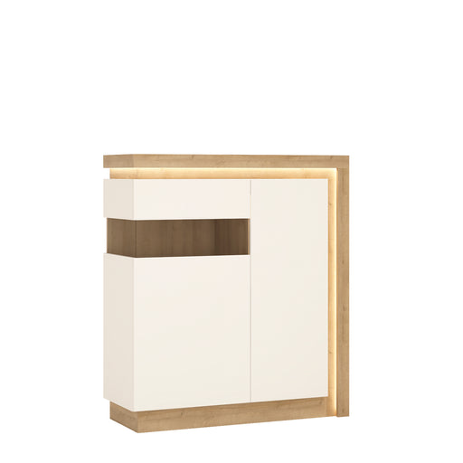 Lyon 2 door designer cabinet (LH) (including LED lighting) Oak/White