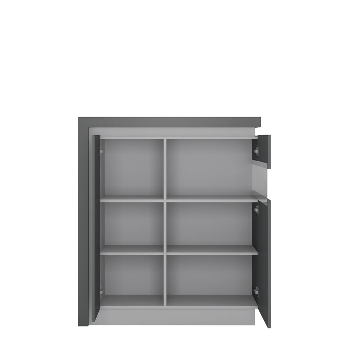 Lyon 2 door designer cabinet (RH) (including LED lighting) Platinum/Light Grey