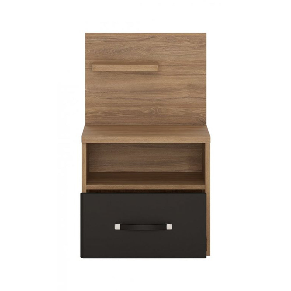 Monaco 1 drawer bedside Table with open shelf (LH) Oak