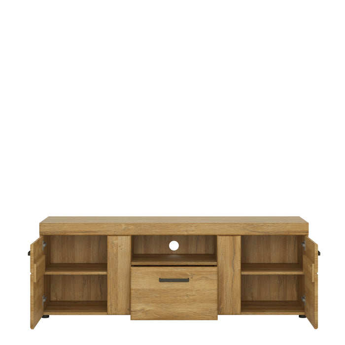 Cortina 2 door 1 drawer tall TV cabinet Oak