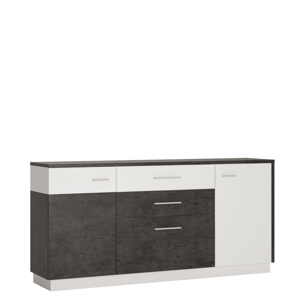 Zingaro 2 door 2 drawer 1 compartment sideboard Slate Grey/White