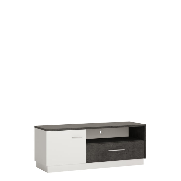 Zingaro 1 door 1 drawer TV cabinet Slate Grey/White