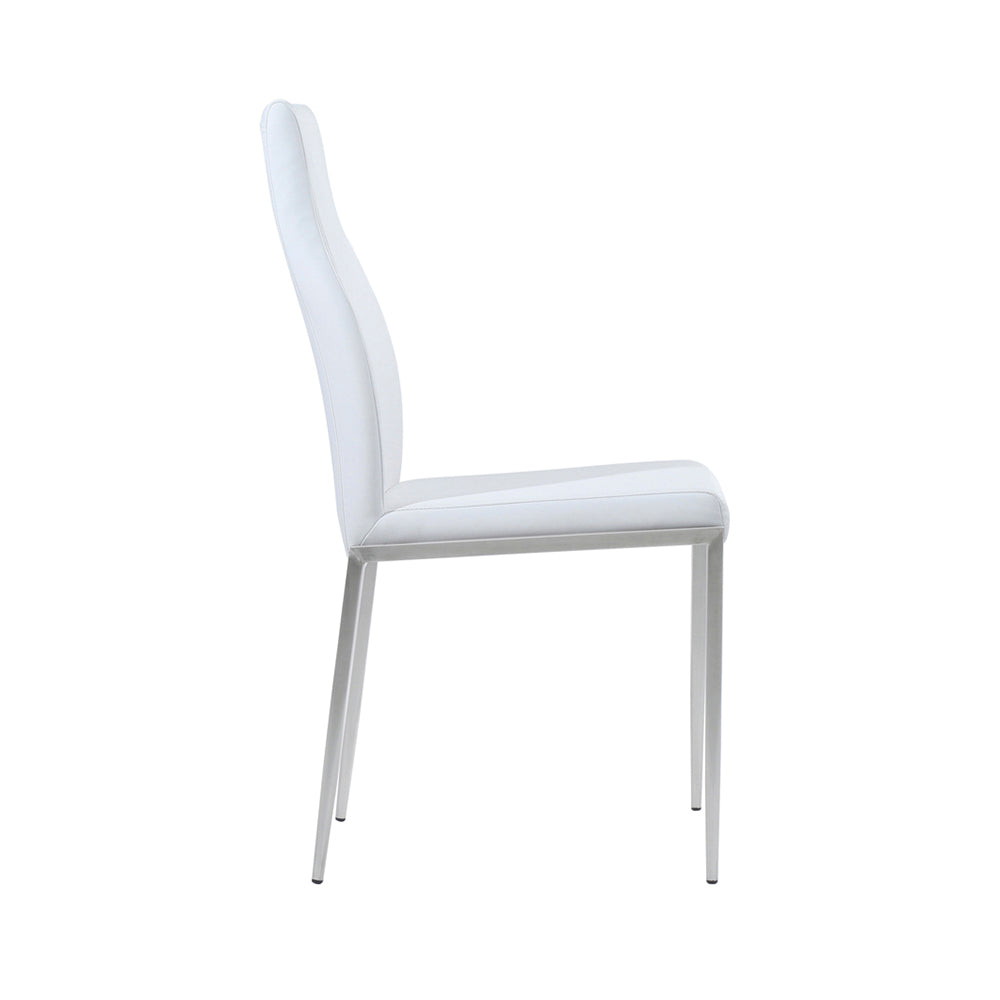 Milan High Back Chair White Leather