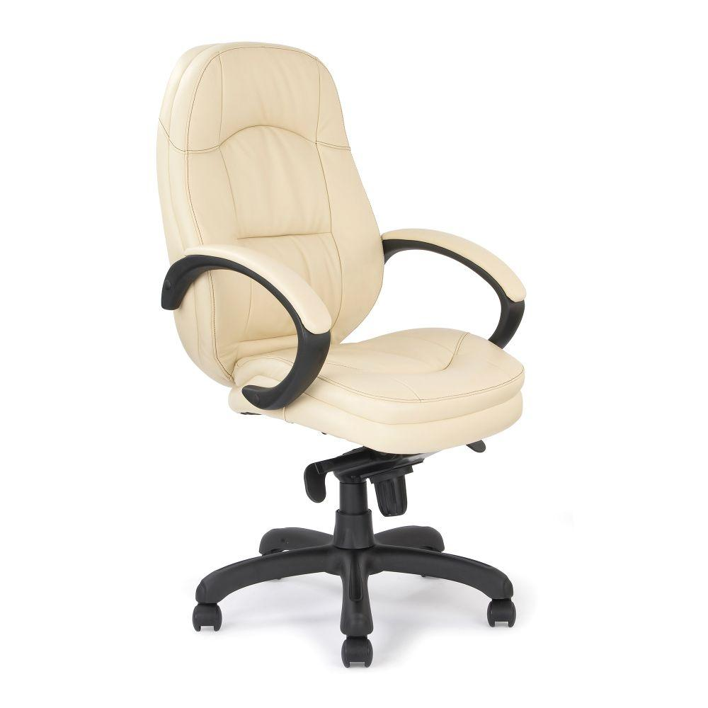 Brighton Luxurious Leather Faced Executive Armchair with Padded, Upholstered Armpads and Pronounced Lumbar Support - Cream