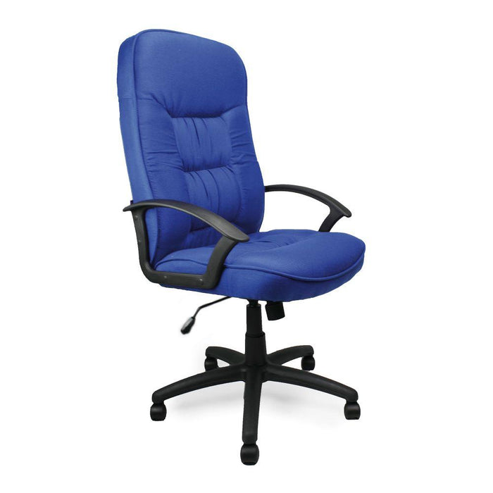 Coniston High Back Fabric Executive Armchair with Sculptured Stitching Detail - Blue