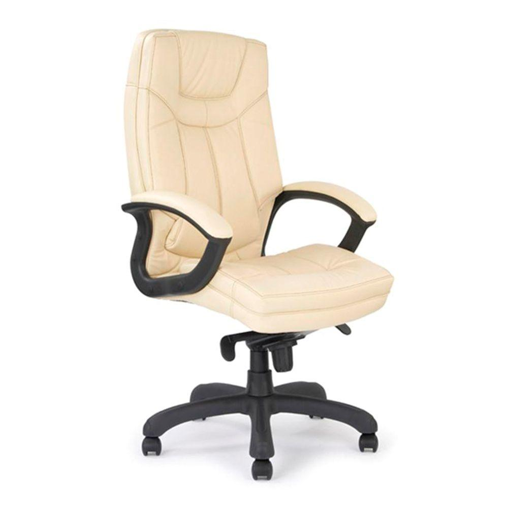 Hudson Stylish High Back Leather Faced Executive Armchair with Upholstered Armrests and Pronounced Lumbar Support - Cream