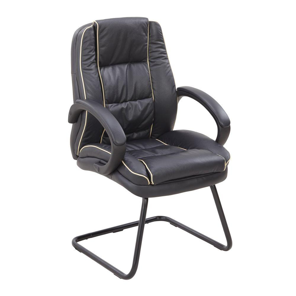 Truro Cantilever Framed Leather Faced visitor Armchair with Contrasting Piping - Black