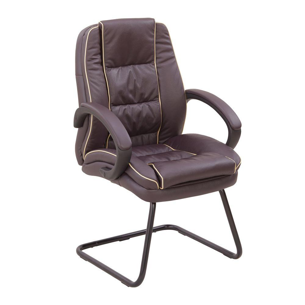 Truro Cantilever Framed Leather Faced visitor Armchair with Contrasting Piping - Burgundy