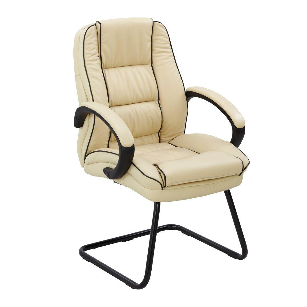 Truro Cantilever Framed Leather Faced visitor Armchair with Contrasting Piping - Cream