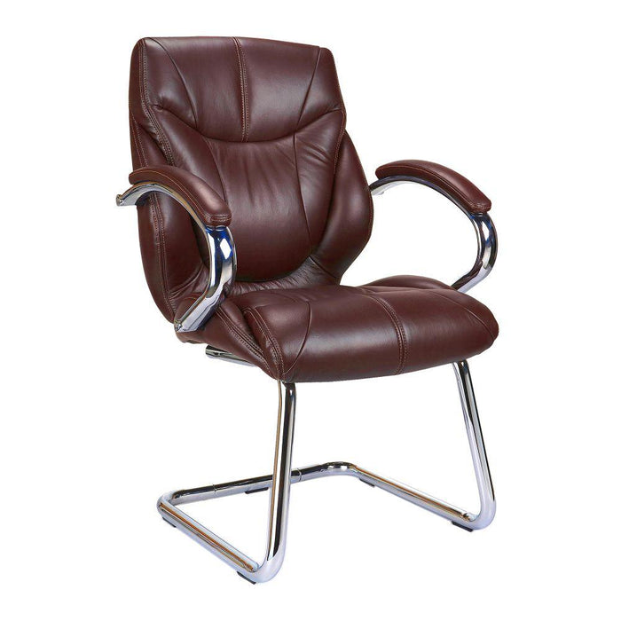 Sandown High Back Luxurious Leather Faced Executive Visitor Armchair with Integral headrest and Chrome Base - Brown
