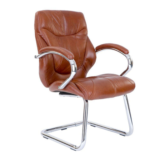 Sandown High Back Luxurious Leather Faced Executive Visitor Armchair with Integral headrest and Chrome Base - Tan