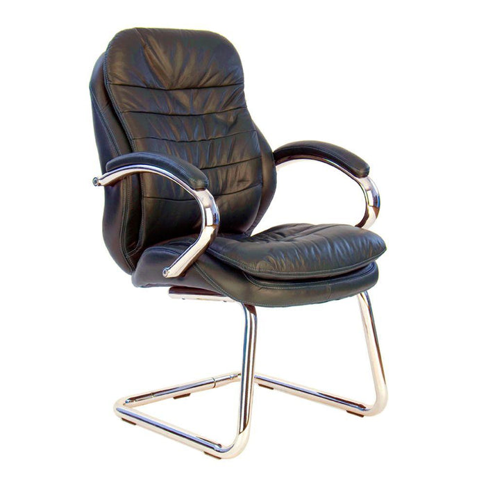 Santiago High Back Italian Leather Faced Executive Visitor Armchair with Integral Headrest and Chrome Base - Brown