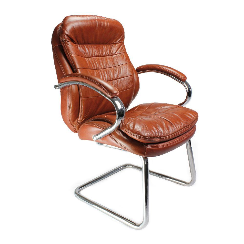 Santiago High Back Italian Leather Faced Executive Visitor Armchair with Integral Headrest and Chrome Base - Tan