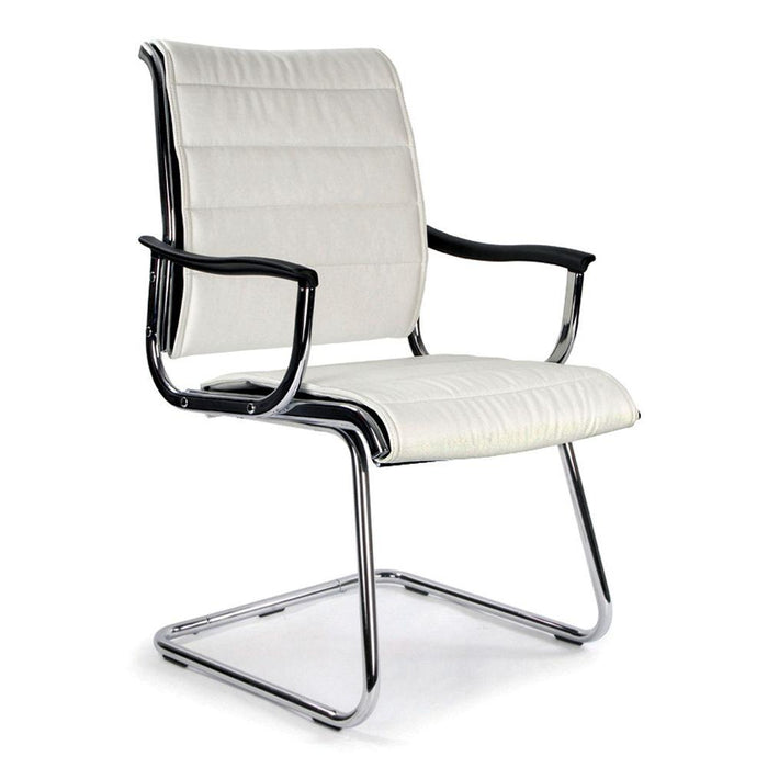 Carbis Cantilever Chrome Framed Leather Effect Designer visitor Chair - White