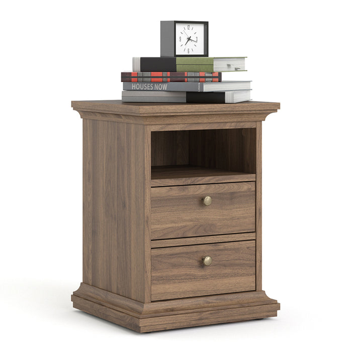 Paris Bedside Table 2 Drawers in Walnut