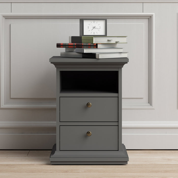 Paris Bedside Table 2 Drawers in Matt Grey