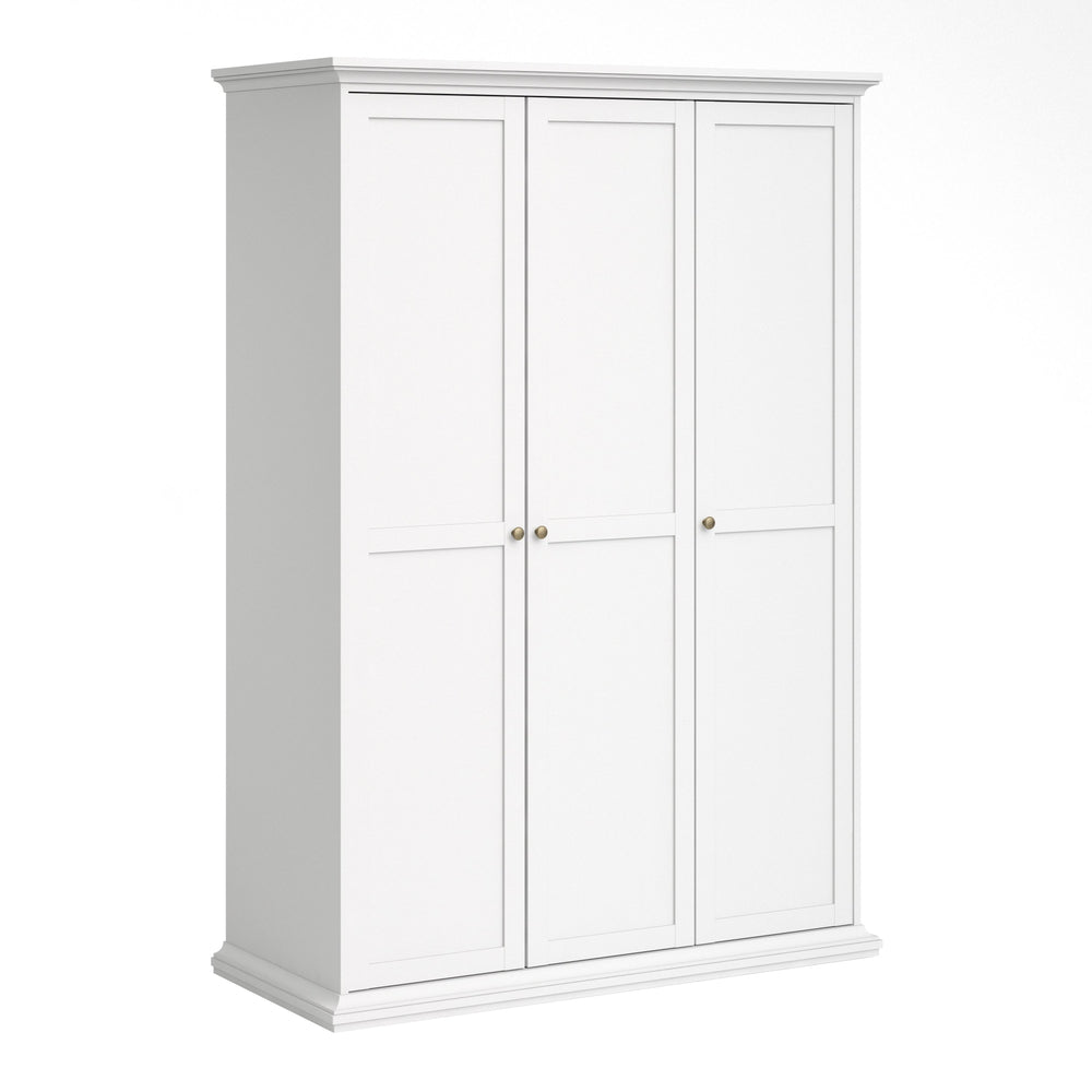 Paris Wardrobe with 3 Doors in White