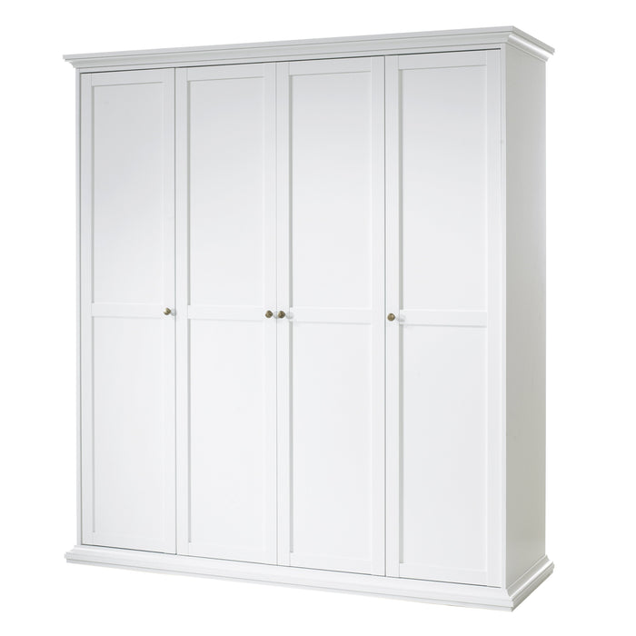 Paris Wardrobe with 4 Doors in White